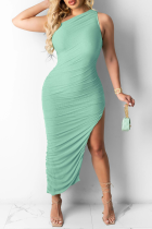 Lake Green Casual Solid High Opening One Shoulder Sleeveless Dress Dresses