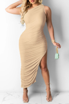 Khaki Casual Solid High Opening One Shoulder Sleeveless Dress Dresses