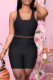 Black Sexy Solid Split Joint O Neck Sleeveless Two Pieces