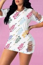 White Sexy Print Split Joint O Neck Straight Dresses