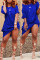 Blue Casual Knot Design Blending Knee Length Dress