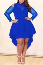 Blue Sexy Fashion Long Sleeve Plus Size Dress