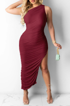 Burgundy Casual Solid High Opening One Shoulder Sleeveless Dress Dresses