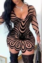 Beige Fashion Sexy Print Basic V Neck A Line Dresses