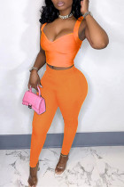Orange Sexy Casual Solid Backless V Neck Sleeveless Two Pieces