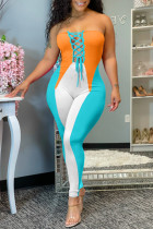 Orange Fashion Sexy Patchwork Backless Strapless Skinny Jumpsuits