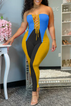 Blue Fashion Sexy Patchwork Backless Strapless Skinny Jumpsuits