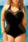 Black Fashion Sexy Plus Size One Piece Swimsuit