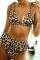 Leopard Print Sexy Leopard Bandage Split Joint Swimwears