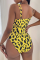 Yellow Sexy Print Split Joint Chains Swimwears Two Pieces