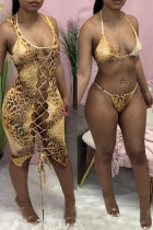 Yellow Fashion Sexy Print Hollowed Out O Neck Swimsuit Three-piece Set