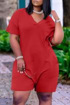 Red Fashion Casual Solid Basic V Neck Regular Jumpsuits