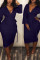 Deep Blue Casual Long Sleeves Twilled Satin Two-piece Skirt Set