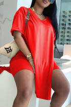 Red Fashion Casual Solid Slit V Neck Short Sleeve Two Pieces