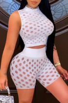 White Fashion Sexy Solid Hollowed Out See-through Half A Turtleneck Sleeveless Two Pieces