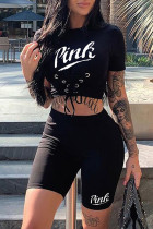 Black Sexy Casual Letter Print Strap Design O Neck Short Sleeve Two Pieces