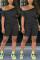 Black Fashion Short Sleeve T-shirt Shorts Casual Set