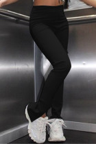 Black Fashion Casual Solid Slit Regular High Waist Conventional Solid Trousers