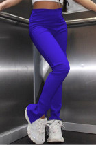 Blue Fashion Casual Solid Slit Regular High Waist Conventional Solid Trousers