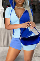 Light Blue Fashion Casual Patchwork Basic Zipper Collar Short Sleeve Two Pieces