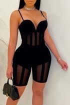 Black Sexy Solid Mesh Spaghetti Strap Skinny Jumpsuits