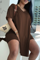 Coffee Fashion Casual Solid Slit V Neck Short Sleeve Two Pieces