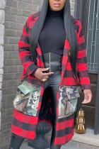 Red Fashion Casual Plaid Stitching Long Coat