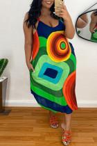 Green Sexy Casual Plus Size Print Backless Spaghetti Strap Sleeveless Dress