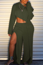 Green  Sexy Fashion Split Solid Patchwork Loose Two-piece Pants Set