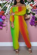 Multicolor Fashion Casual Print Basic Off the Shoulder Regular Jumpsuits