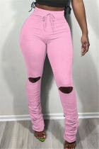 Pink Fashion Casual Solid Ripped Fold Regular Mid Waist Trousers