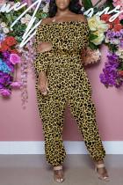 Leopard Print Fashion Casual Print Basic Off the Shoulder Regular Jumpsuits