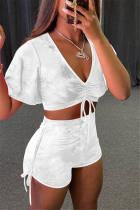 White Fashion Casual Solid Strap Design V Neck Short Sleeve Two Pieces