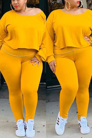 Yellow Women Fashion Casual Big Size Solid Suit