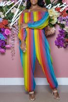 Colour Fashion Casual Print Basic Off the Shoulder Regular Jumpsuits