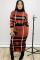 Orange  Street Print Patchwork Two Piece Suits Hip skirt Long Sleeve