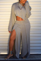 Grey  Sexy Fashion Split Solid Patchwork Loose Two-piece Pants Set