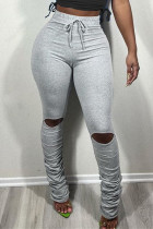Grey Fashion Casual Solid Ripped Fold Regular Mid Waist Trousers