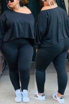 Black Women Fashion Casual Big Size Solid Suit