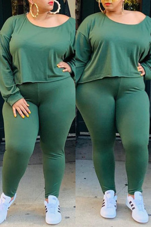 Green Women Fashion Casual Big Size Solid Suit