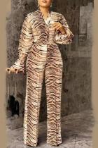 Leopard Print Casual Leopard Split Joint Turndown Collar Plus Size Two Pieces
