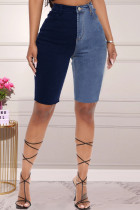 Blue Fashion Casual Patchwork Basic High Waist Straight Jeans