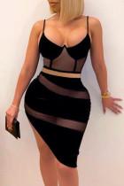 Black Fashion Sexy Patchwork See-through Spaghetti Strap Sleeveless Two Pieces