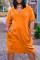 Orange Fashion Casual Solid Basic V Neck Short Sleeve Dress