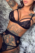 Black Sexy Patchwork Hollowed Out See-through Lingerie