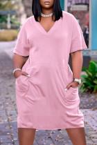 Pink Fashion Casual Solid Basic V Neck Short Sleeve Dress
