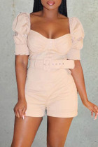 Beige Fashion Casual Solid Without Belt Square Collar Short Sleeve Two Pieces