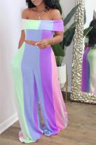 Purple Fashion Sexy Bateau Neck Sleeveless Off The Shoulder Striped Plus Size Set