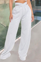 Grey Fashion Casual Solid Split Joint Regular High Waist Trousers
