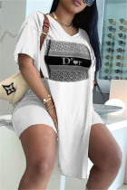 White Fashion Casual Print Slit V Neck Short Sleeve Two Pieces